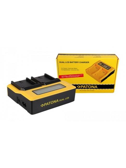 PATONA Dual LCD USB caricabatteria per Canon LPE6 LP-E6