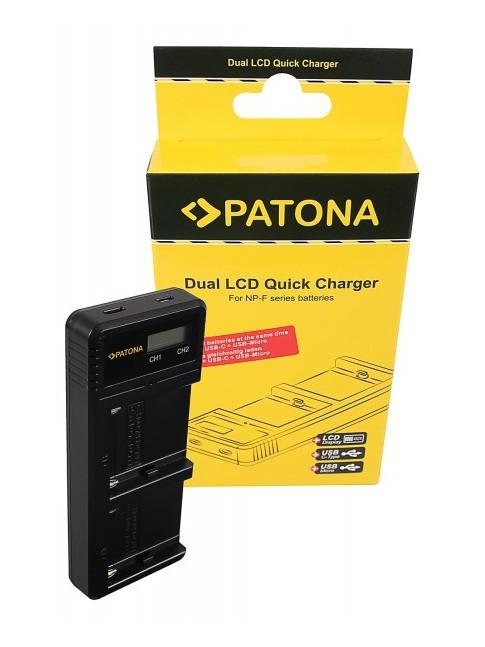PATONA Caricatore USB doppio LCD per Sony F550 F750 F970 FM50 FM500H