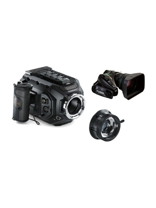Blackmagic URSA Mini 4.6K PL KIT con adattatore B4 e obiettivo zoom 20x Fujinon XA20sx8.5BRM-K3